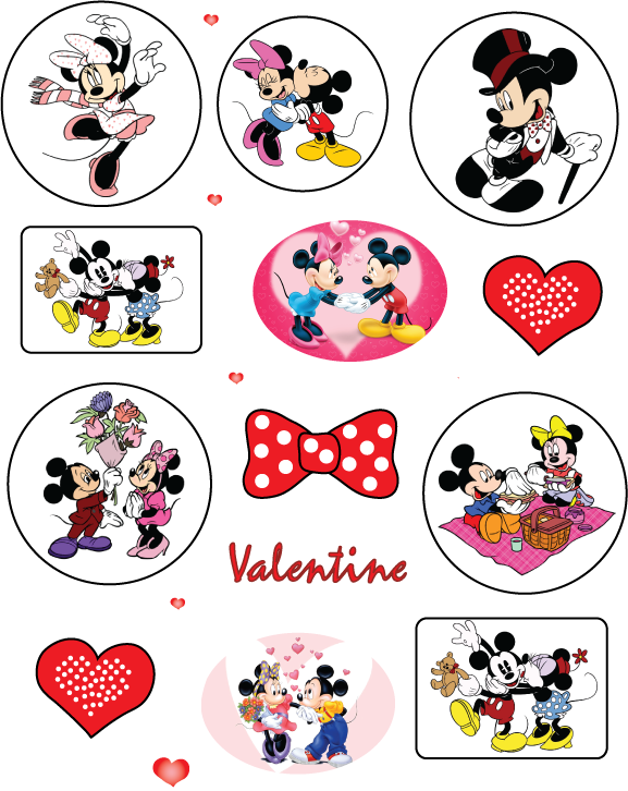 Valentine Mickey Mouse Stickers