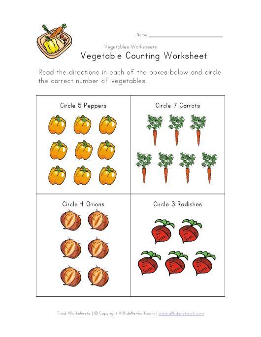 6 best images of printable vegetable worksheets preschool counting worksheets free printables. Black Bedroom Furniture Sets. Home Design Ideas