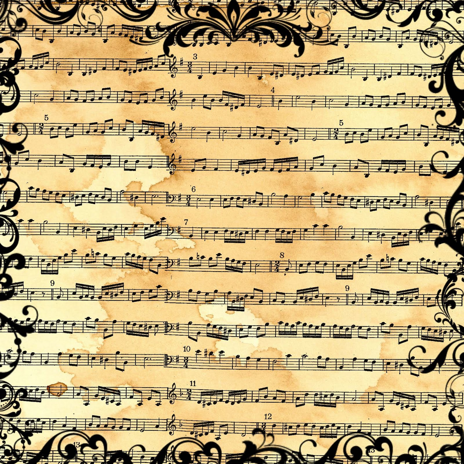 6 Images of Free Printable Vintage Music Paper