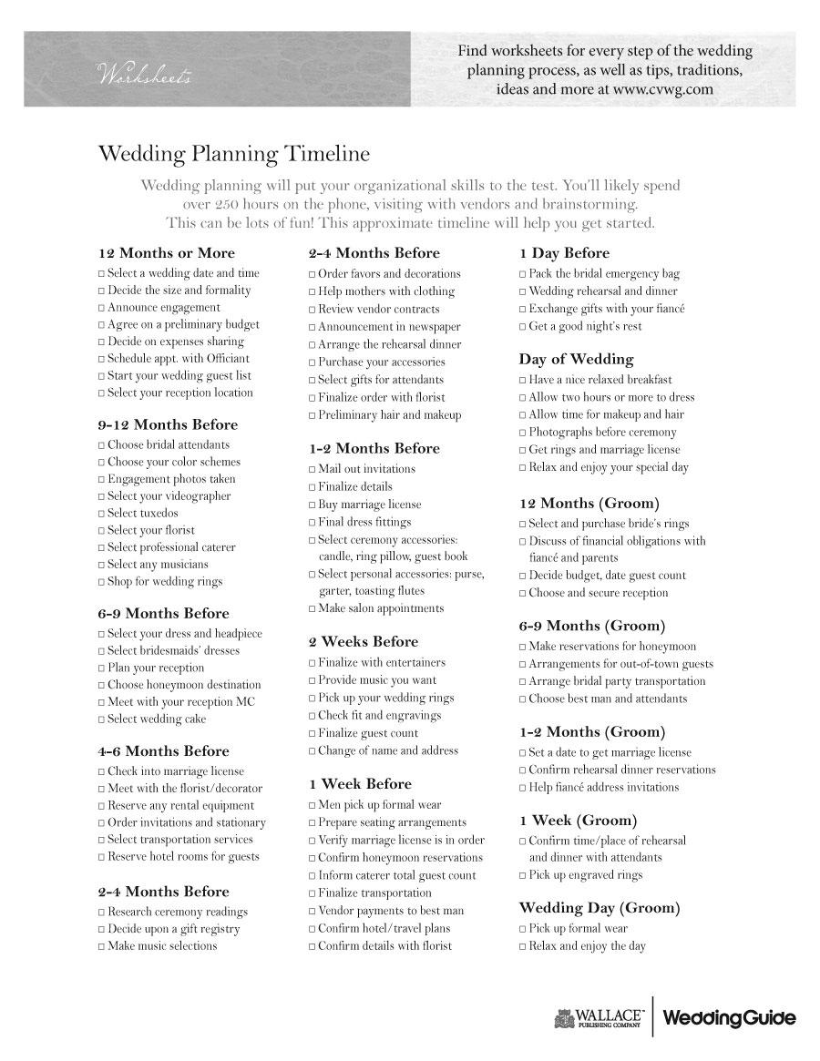 Printables Wedding Planning Worksheets 9 best images of printable wedding planning worksheets free timeline worksheets