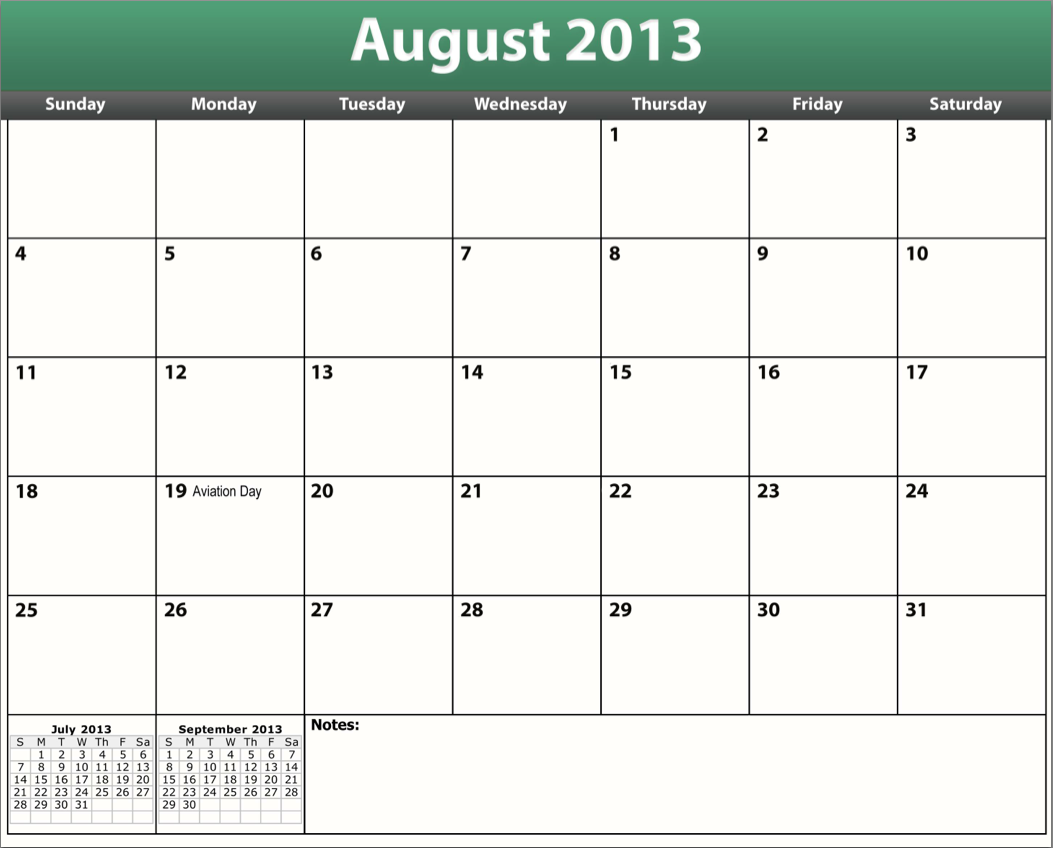 5 Images of Printable Calendar August 2013