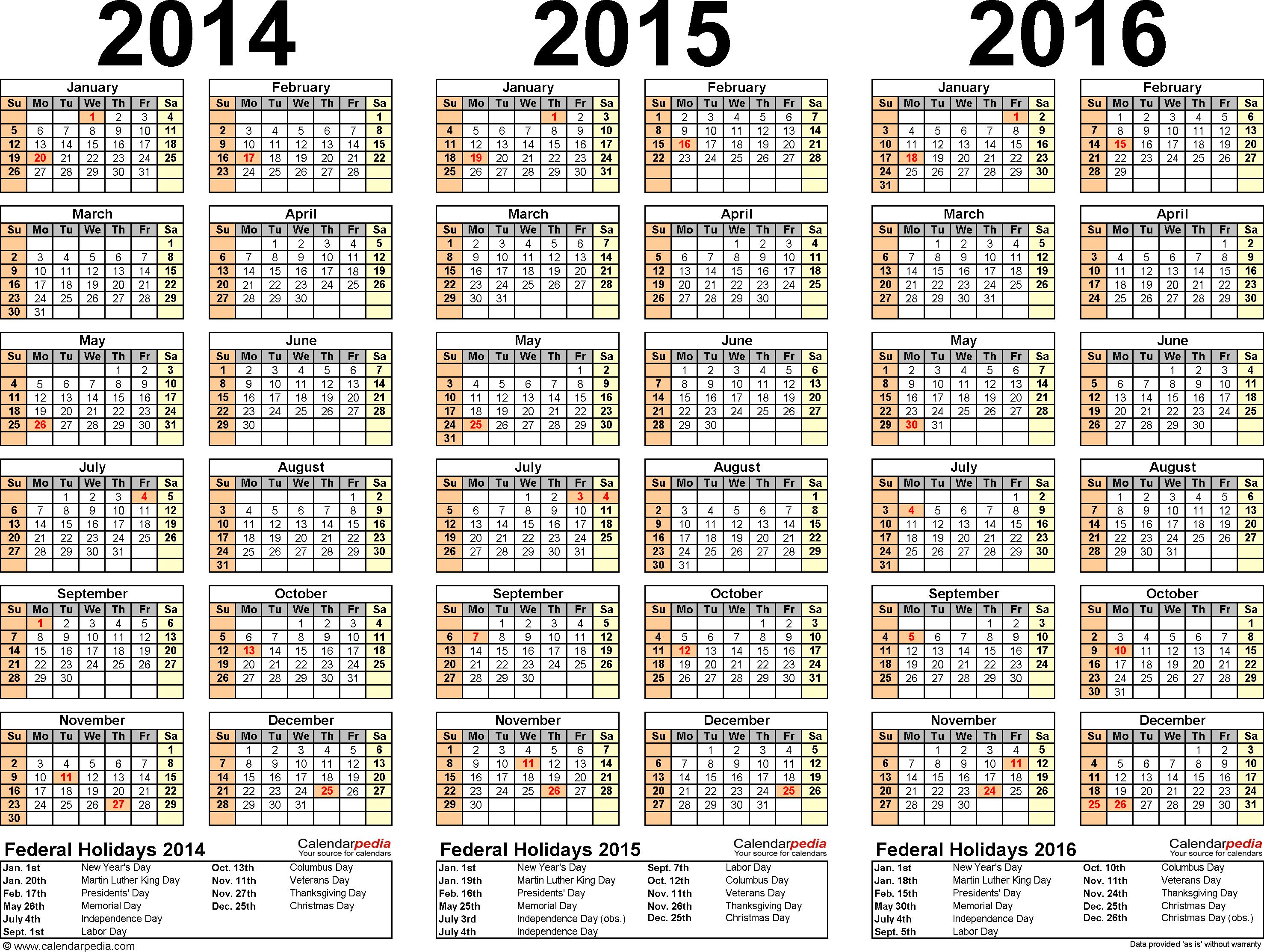 4 Images of Printable Calendar 2014 2015 2016