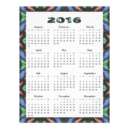 2016 8.5 X 11 Printable Calendar