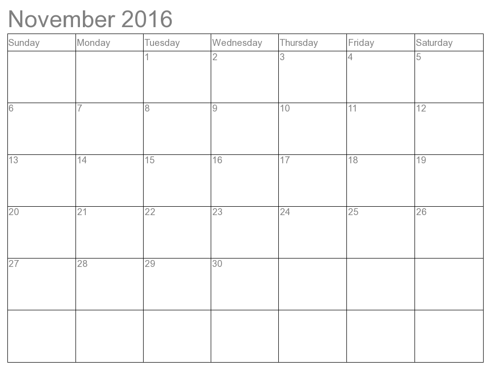 2016 November Monthly Calendar Printable