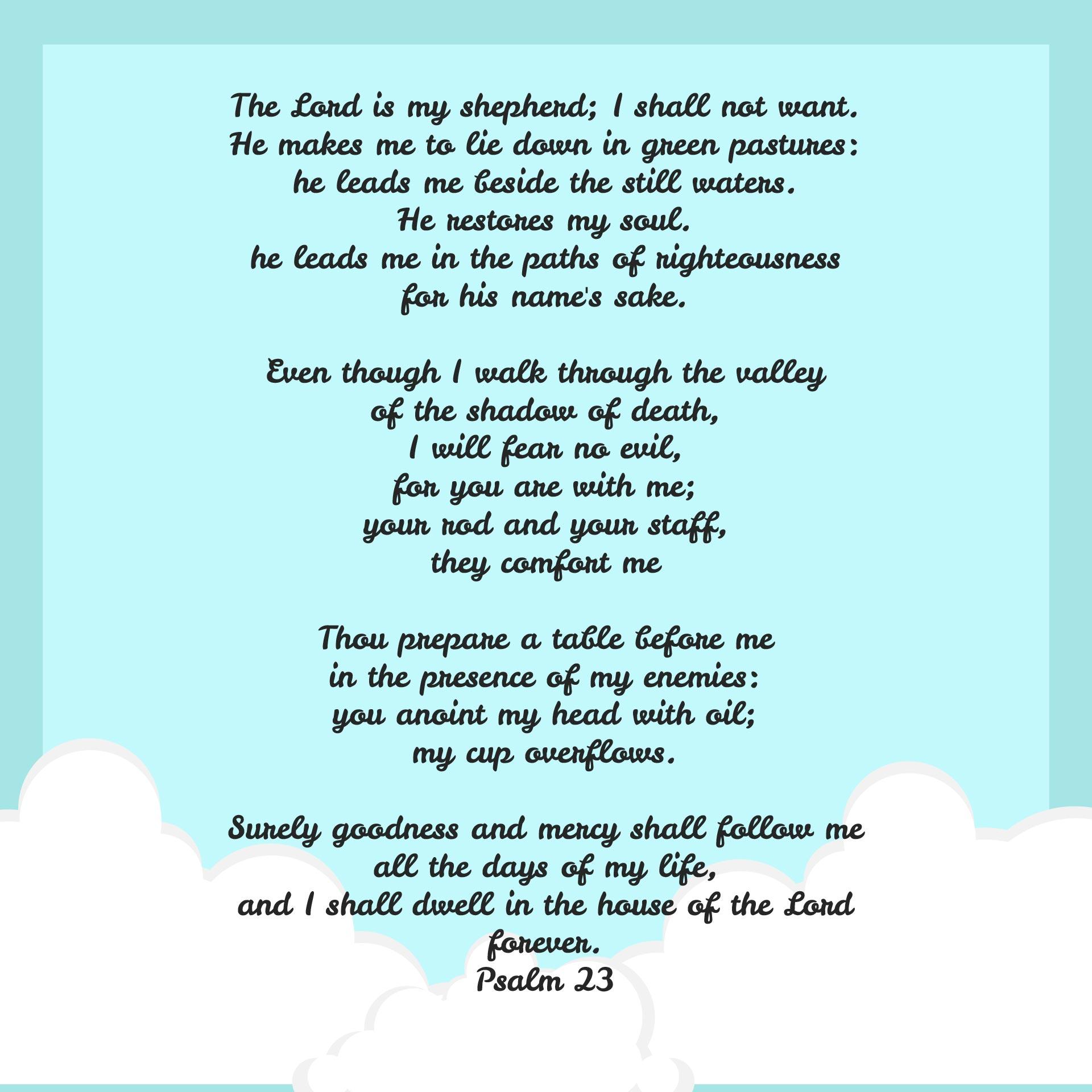 23rd Psalm Printable Version