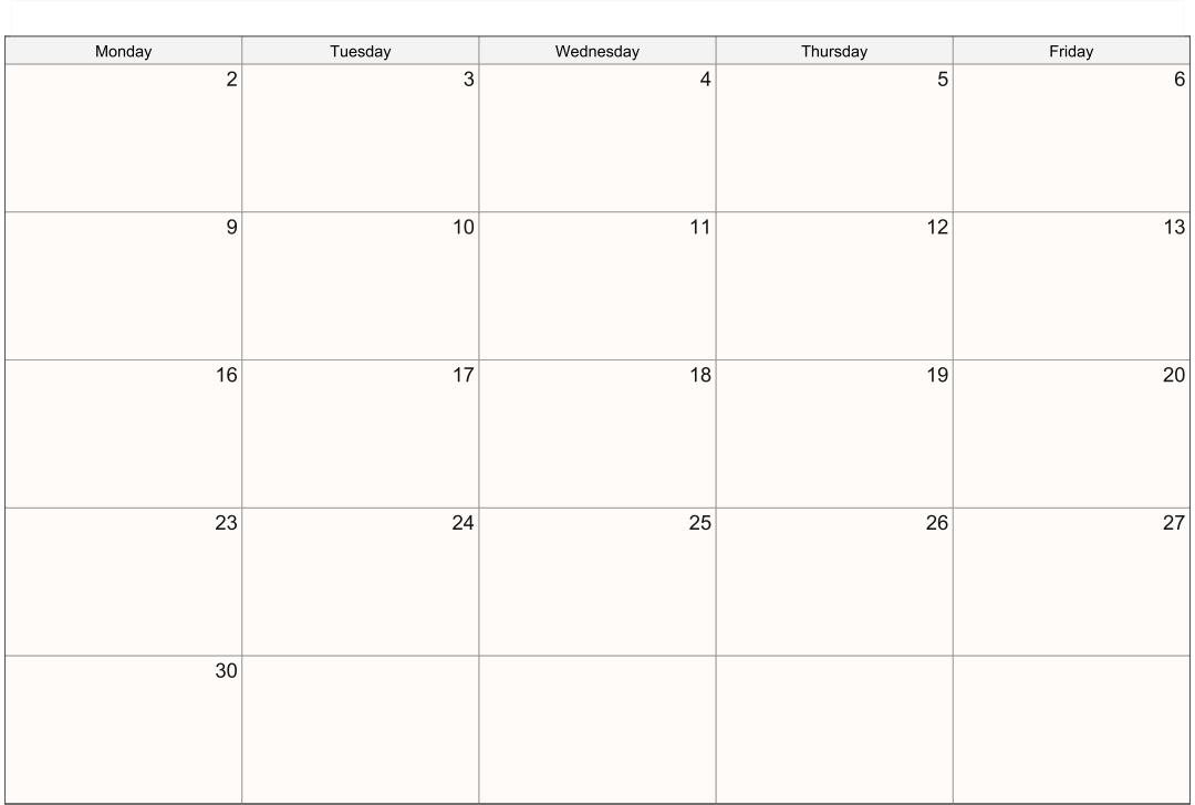 5 Day Monthly Calendar Printable