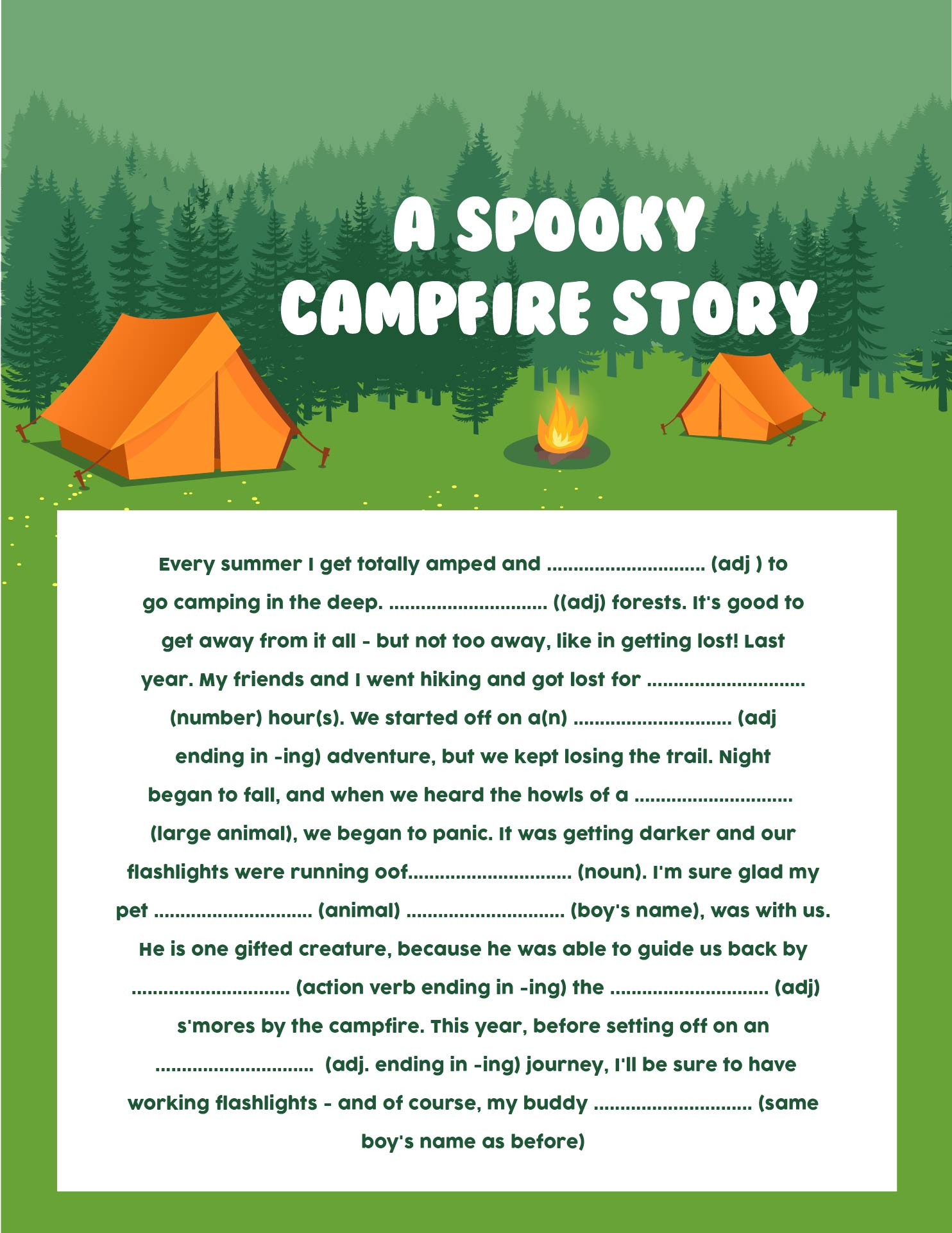 4 Images of Free Printable Camping Mad Libs
