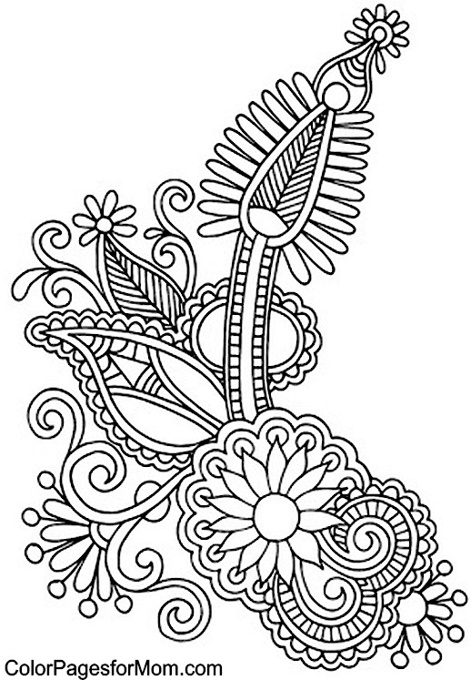 Paisley Pattern Coloring Pages - Coloring Home | 747x518