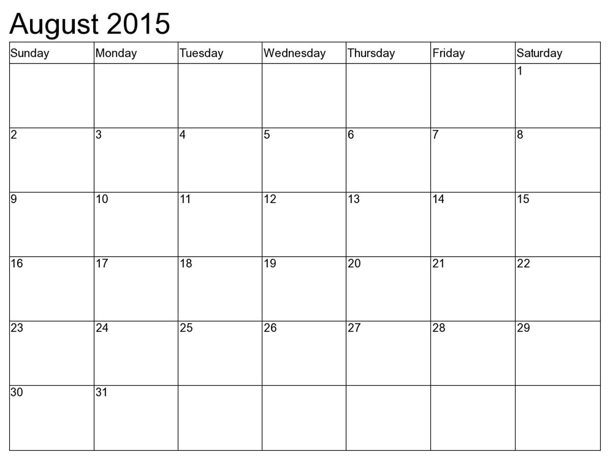 August 2015 Calendar Printable 8 X 11