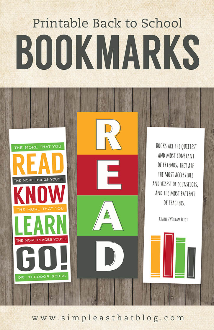 6 Images of School Printable Bookmarks