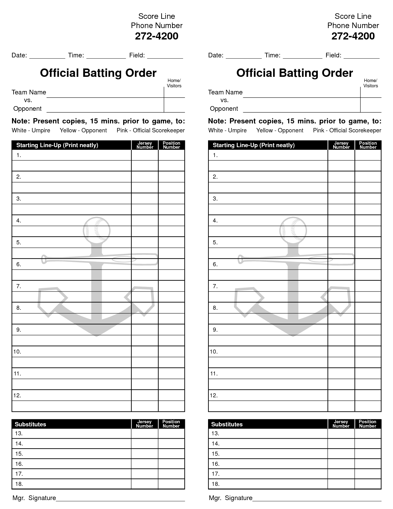 8 best images of baseball card free printable template for Free baseball lineup card template