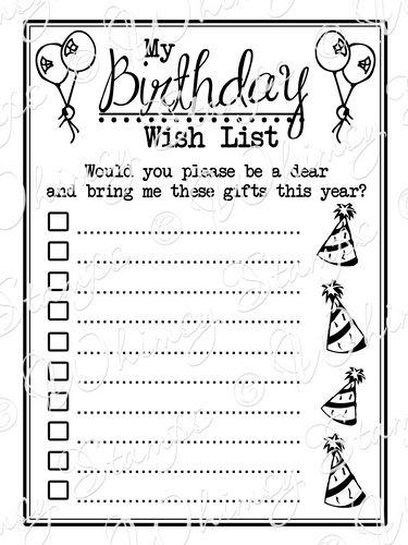 Birthday Wish List Template