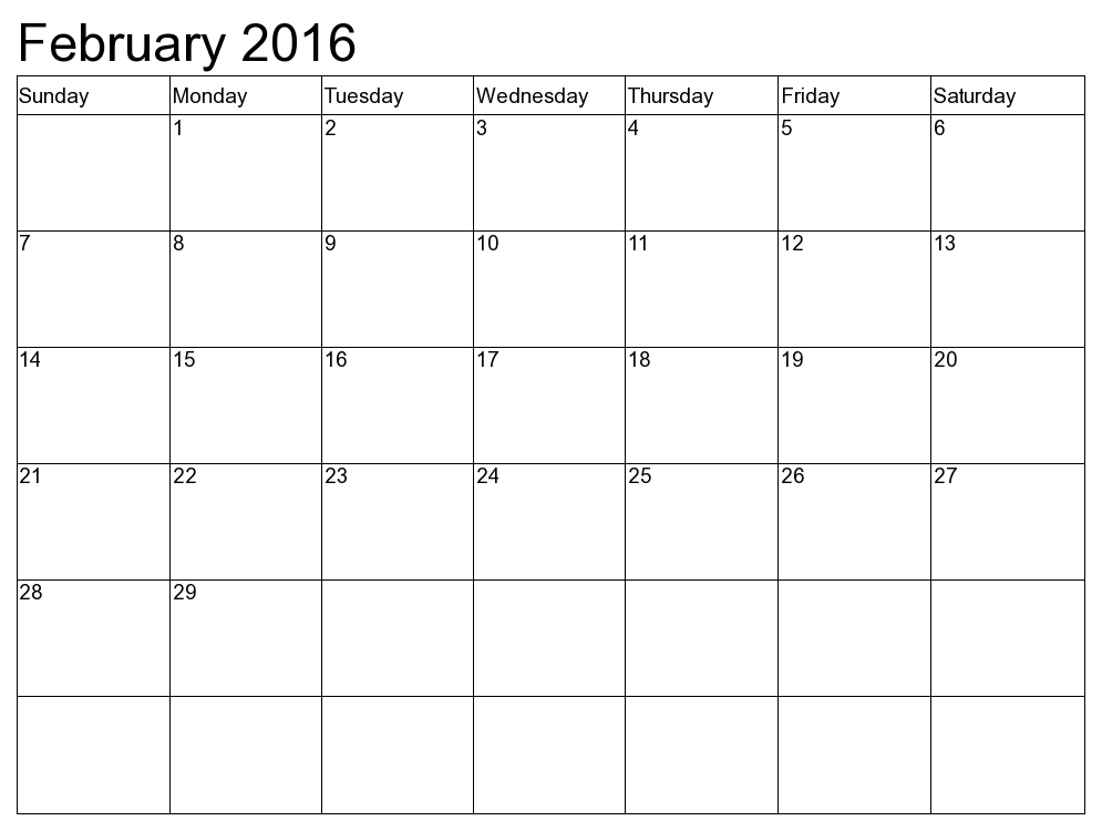 9 Images of Printable Monthly Calendar Feb 2016