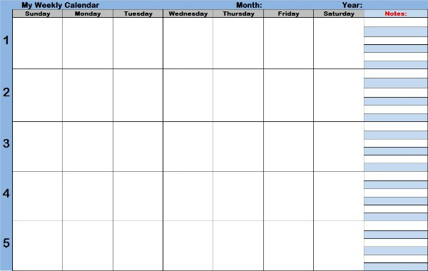 Blank Calendar Weekly with Times