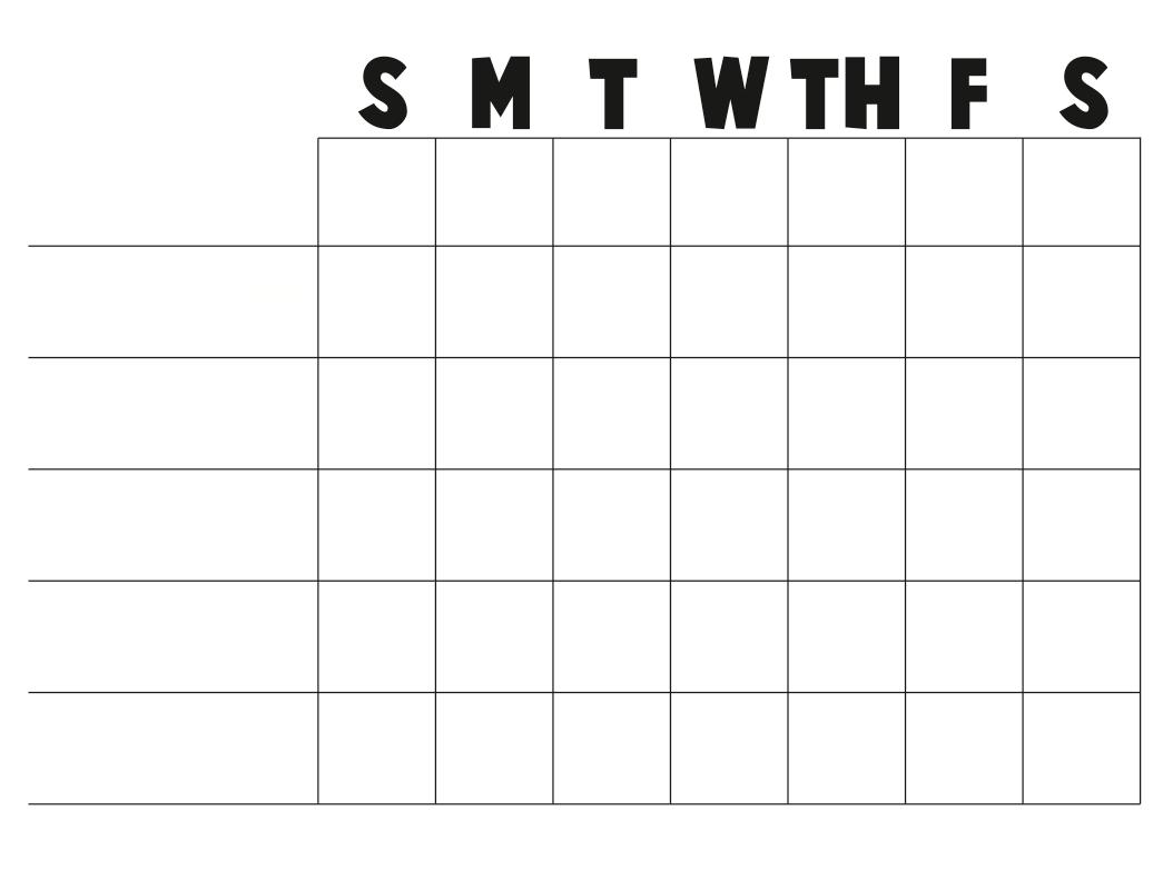 Blank Printable Chore Chart Template