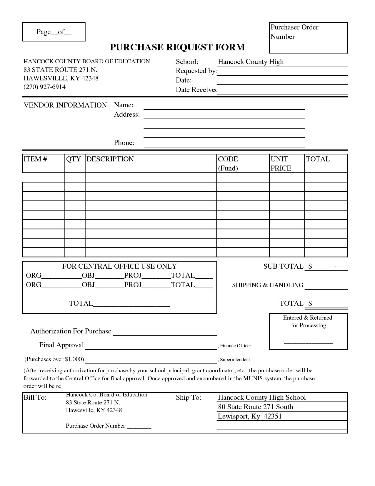 7 best images of blank printable purchase order blank for It purchase request form template