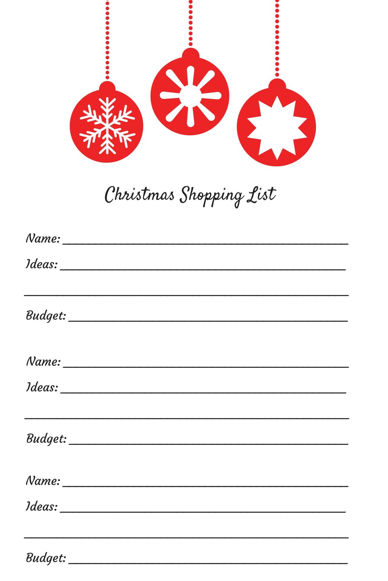 Christmas Shopping List Printable