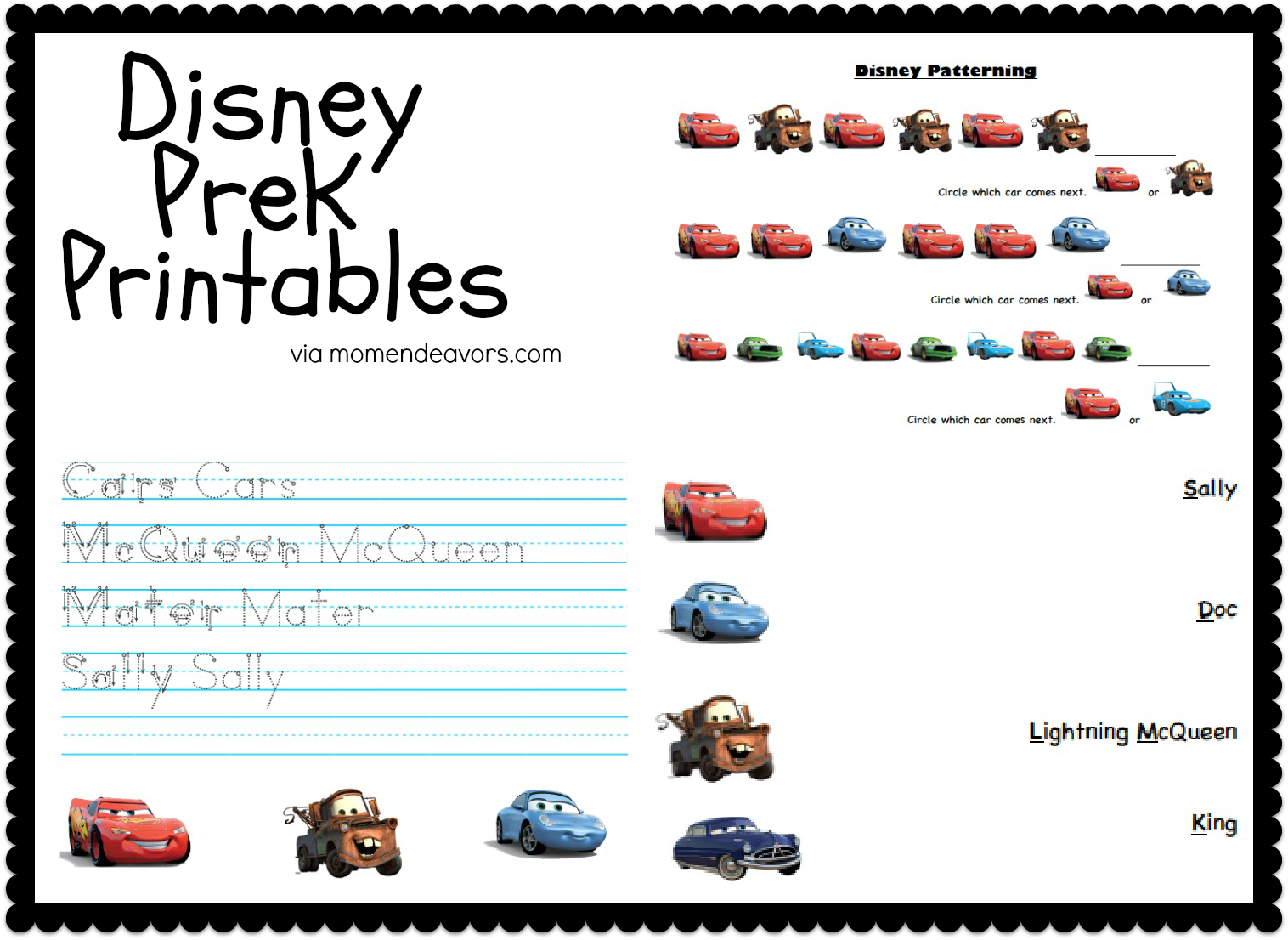 4 Images of Disney Cars Printable Activity Pages