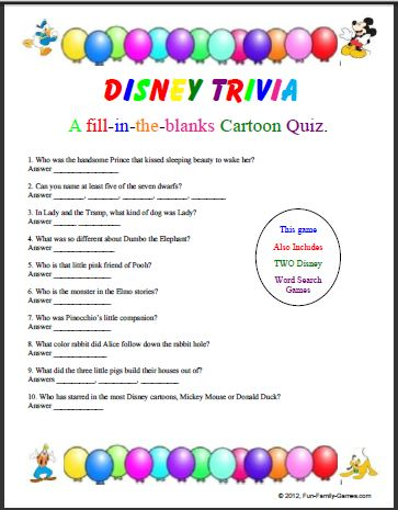 Disney Trivia Questions Printable