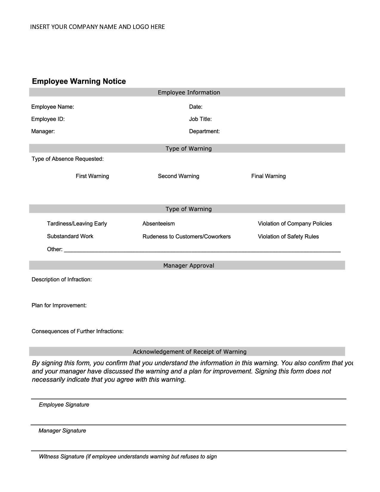 Essentials of an Employee Warning Letter