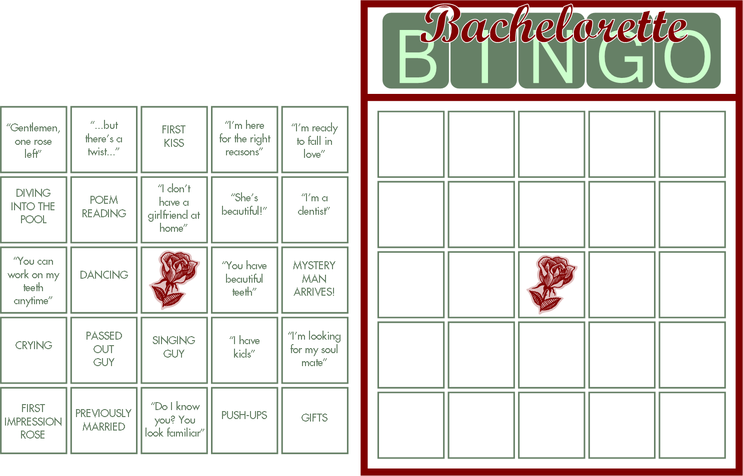 7 Images of Printable Bachelorette Bingo Cards