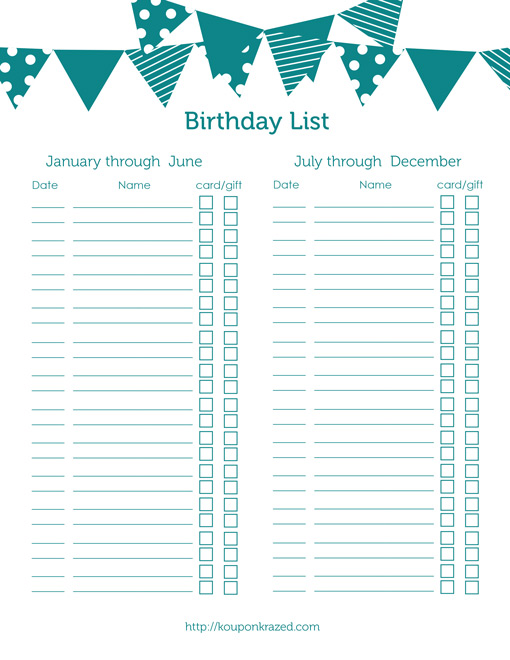 4 Images of Birthday Gift List Printable