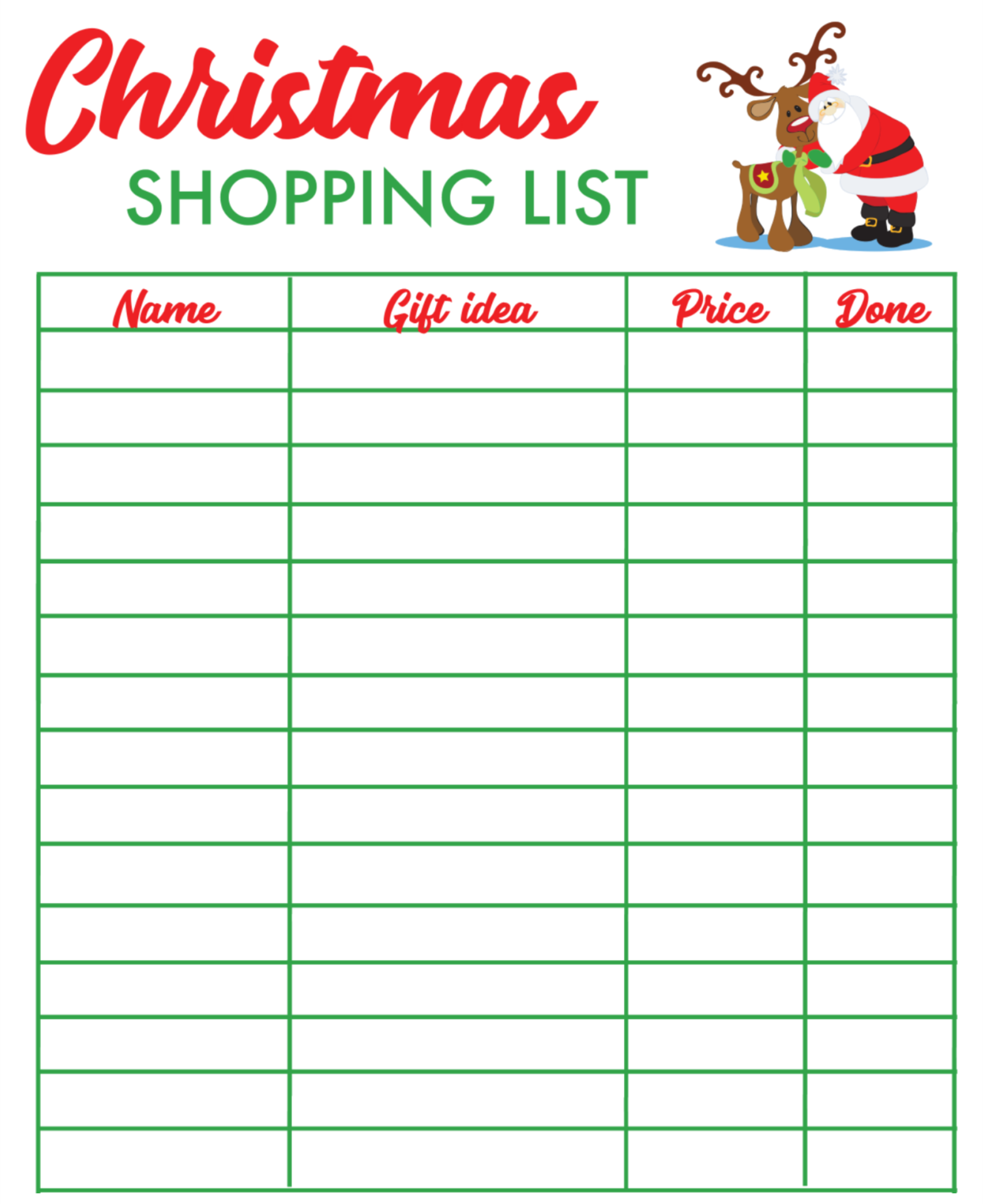 6 Images of Printable Christmas Shopping List