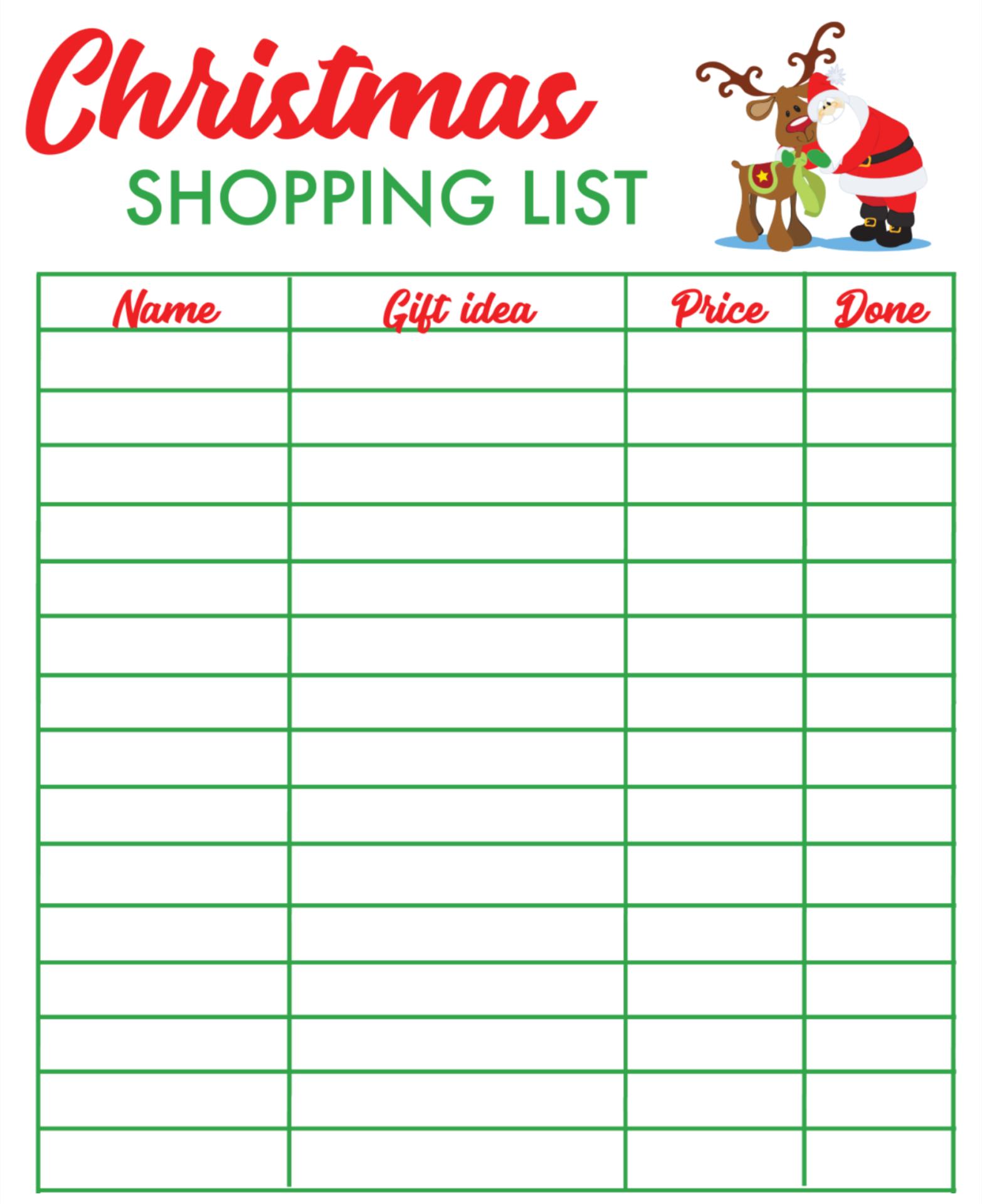 Printable Christmas Shopping List Template
