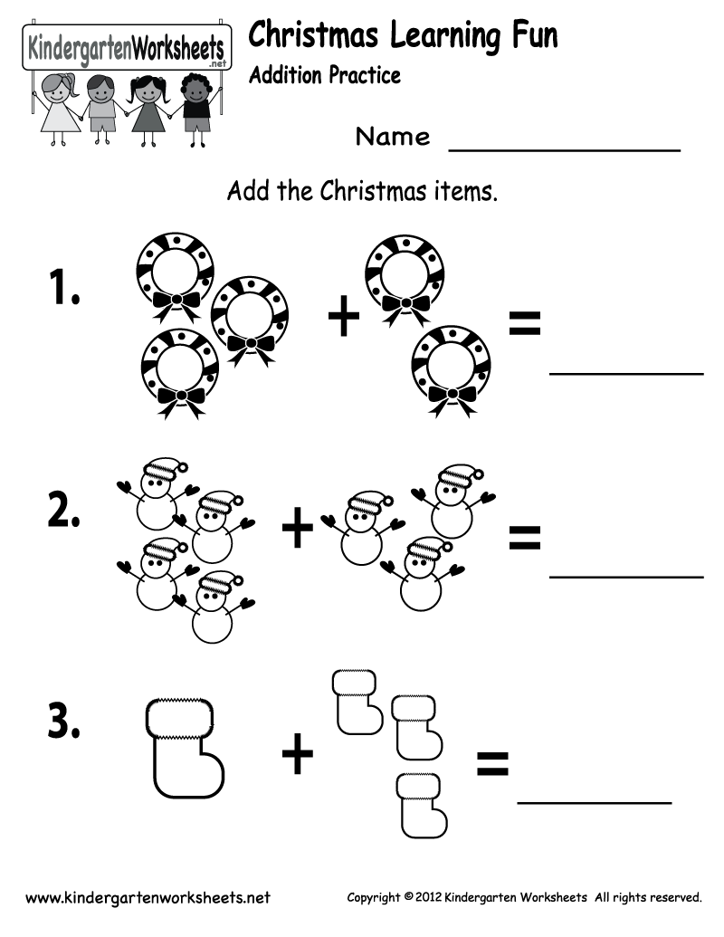 Worksheet Kindergarten Addition free printable kindergarten addition worksheets brandonbrice us rosestogrow9 best images of christmas printables free