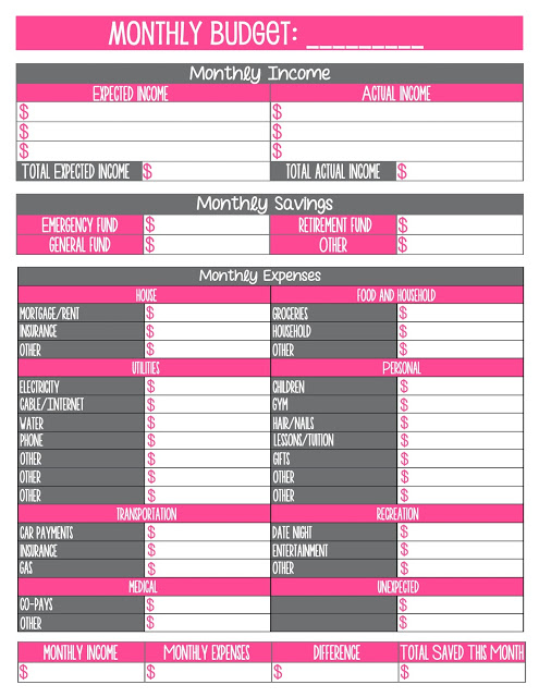 Free printable monthly household budget sheet 1000 ideas for Budgeting sheets template