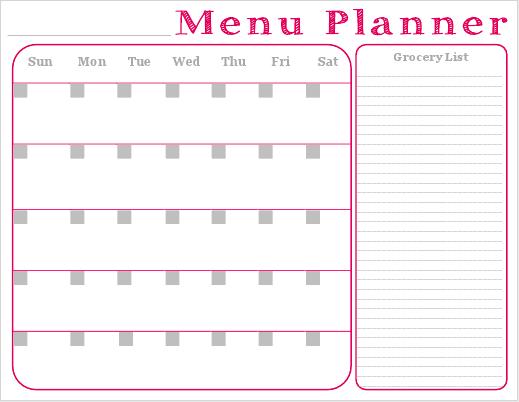 Free Printable Monthly Menu Planner
