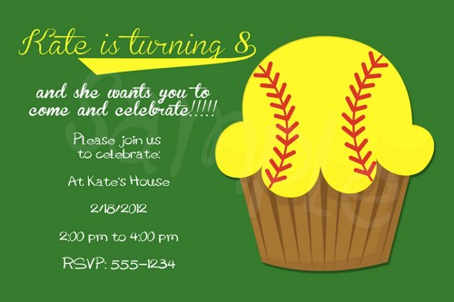 8 Images of Free Printable Softball Birthday Invitations