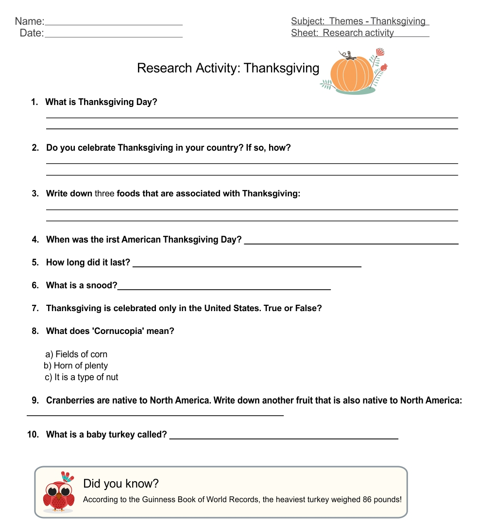 5 Images of Printable Thanksgiving Activity Placemat