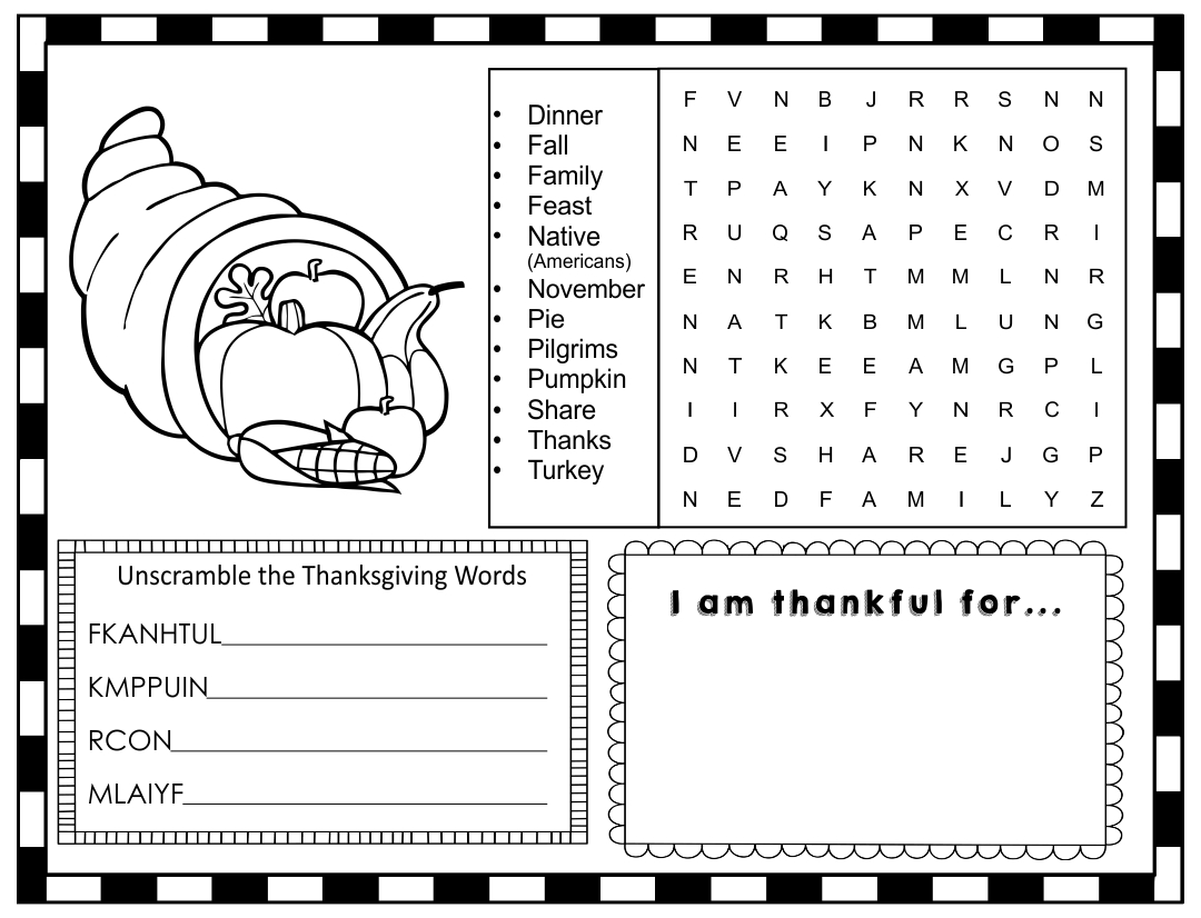 Printable Thanksgiving Activity Placemat