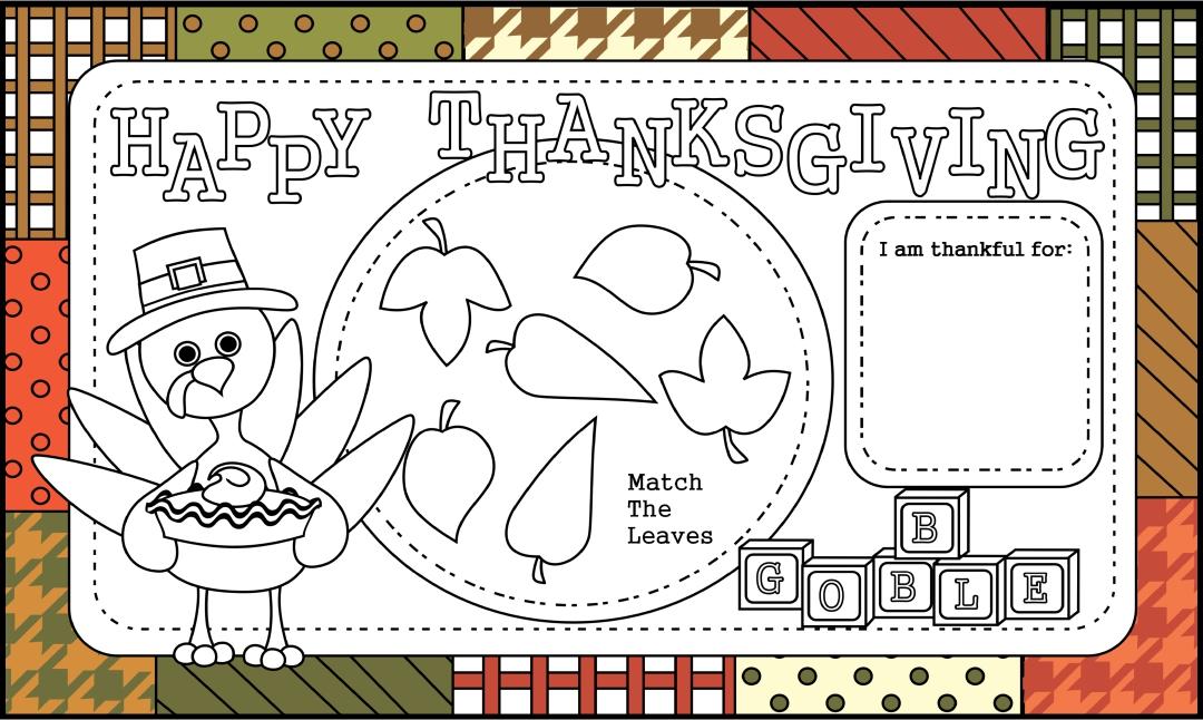 Printable Thanksgiving Placemats Preschool