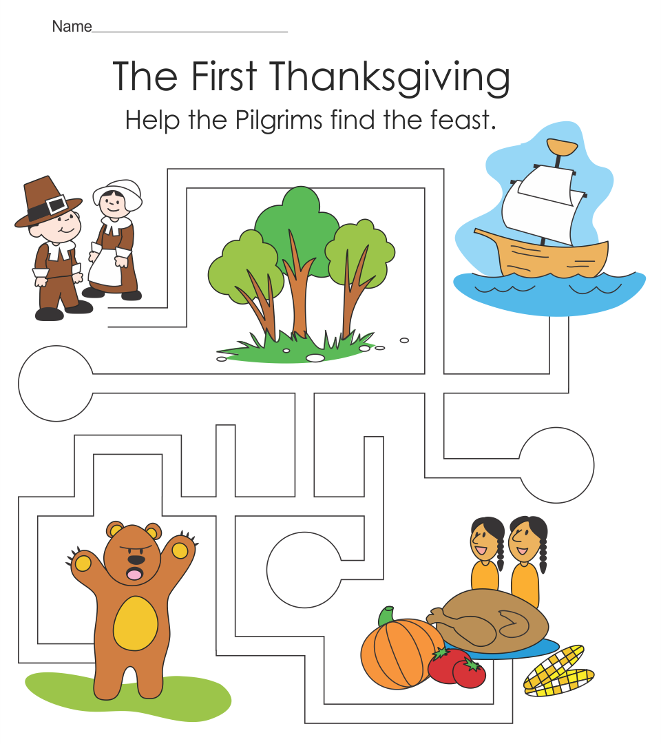 Printable Thanksgiving Worksheets Kindergarten