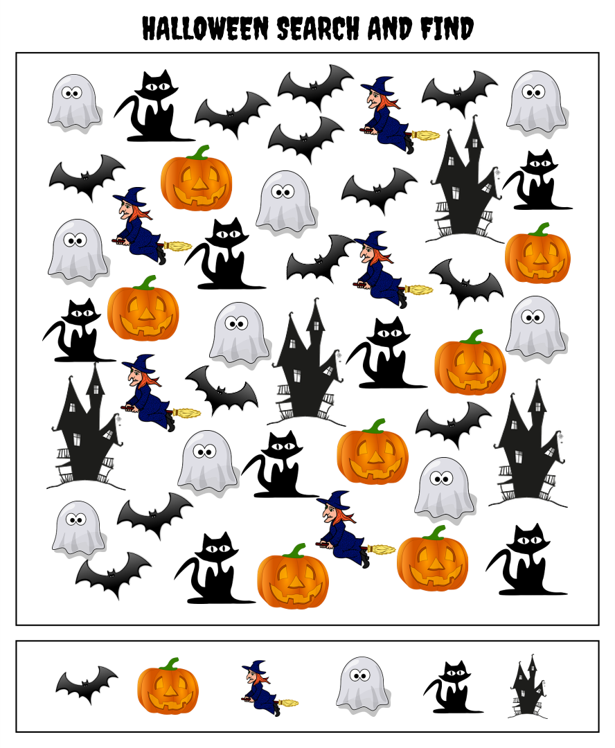 5 Images of Halloween Seek And Find Printables