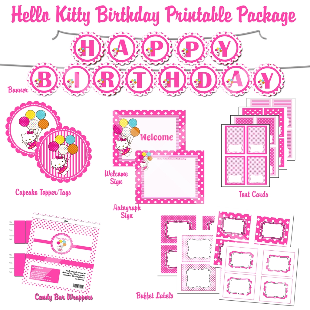 hello kitty cupcake topper template - 6 best images of hello kitty party printables hello