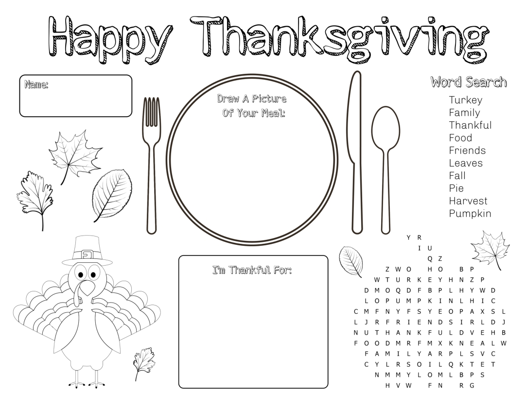 Kids Thanksgiving Activity Placemat
