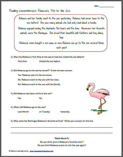 Printables Free Reading Comprehension Worksheets Grade 2 2 reading comprehension worksheets free scalien grade scalien