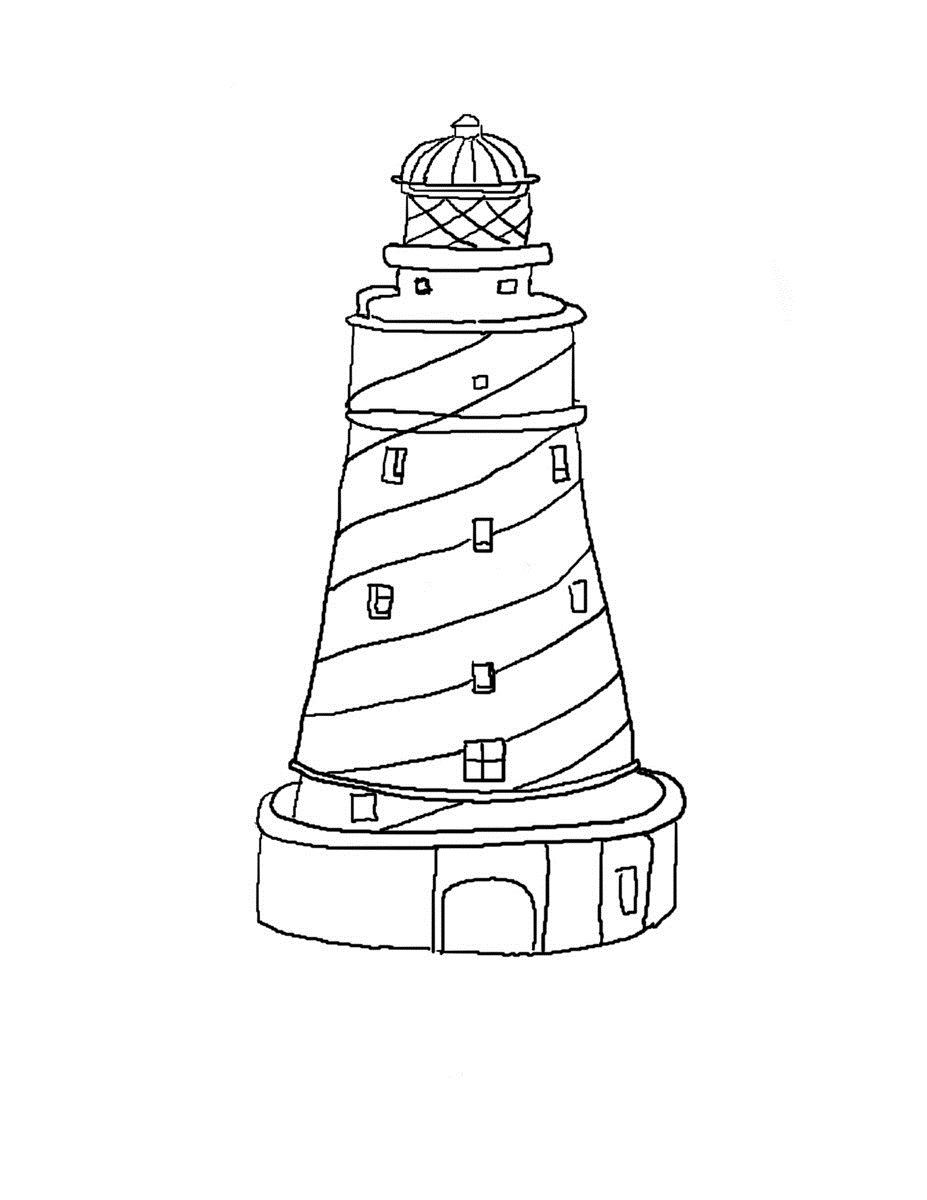 5 Images of Free Printable Lighthouse Coloring Pages
