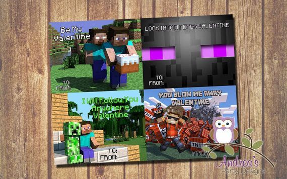 8 Images of Minecraft Printable Valentine's Day Cards 25 Cards