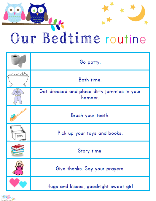 8 Images of Bedtime Routine Printables