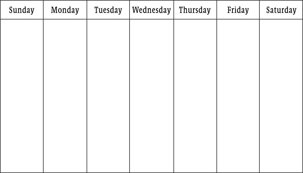 One Week Blank Calendar Printable
