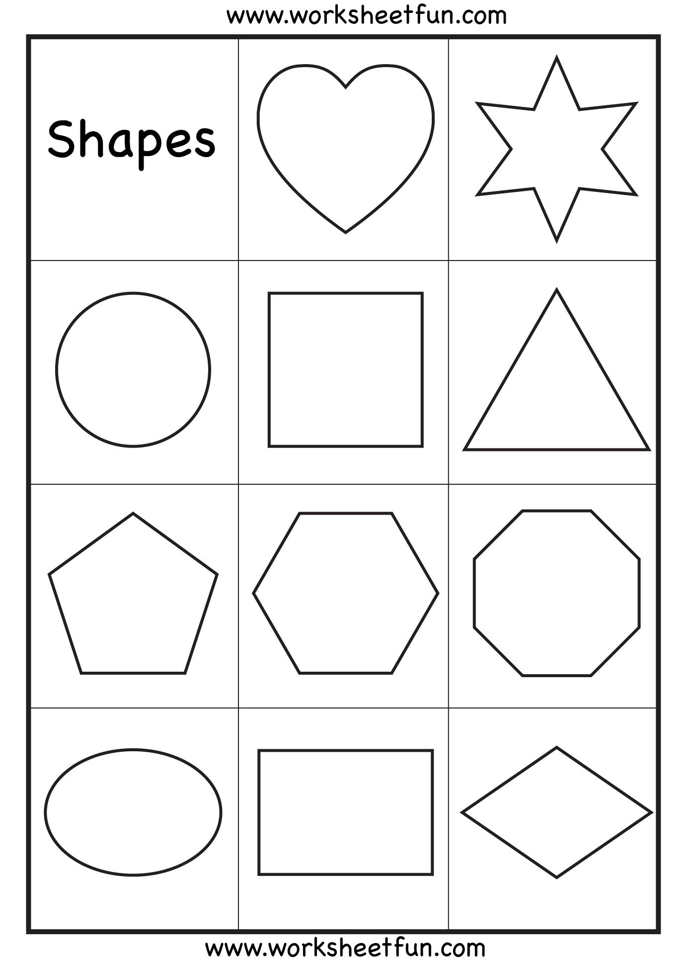 Geometric shapes printables kindergarten