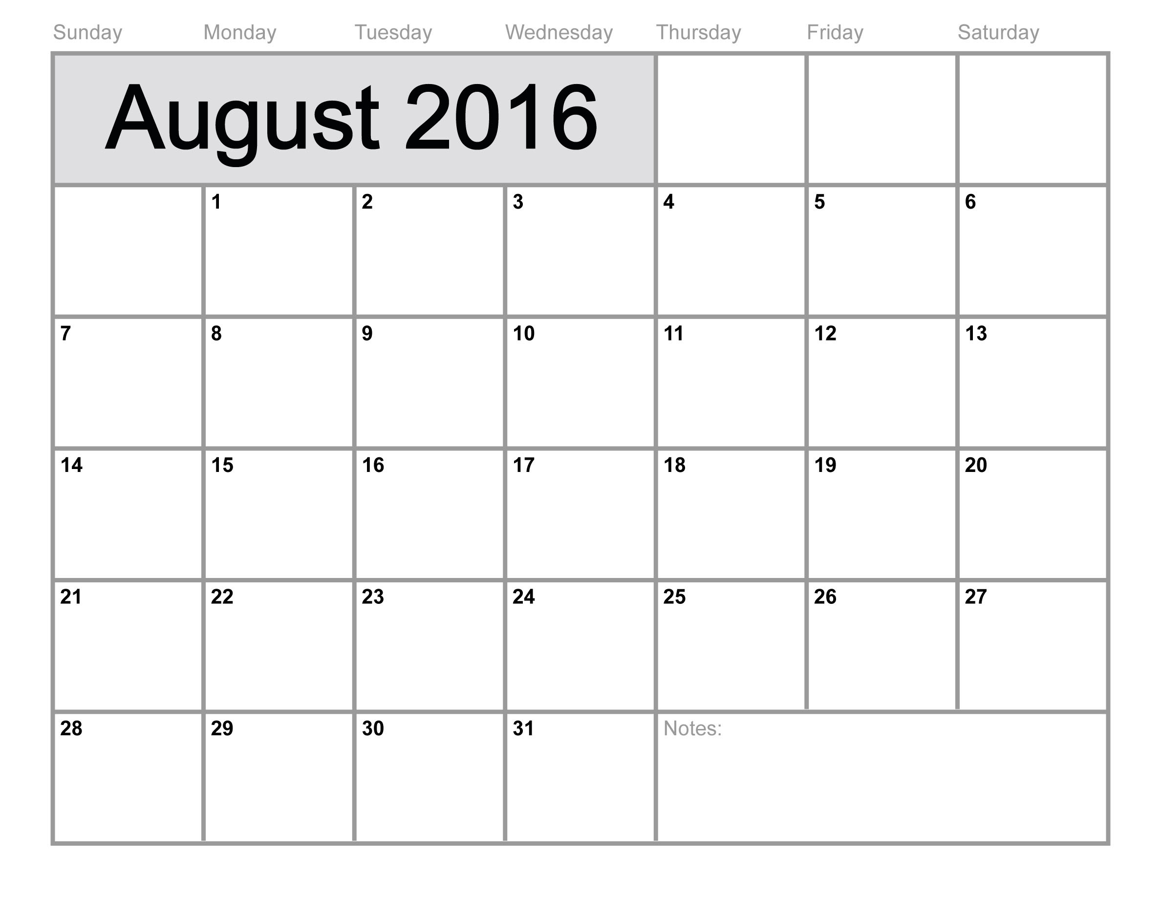 6 Images of 8 X 11 Printable Calendar August 2016