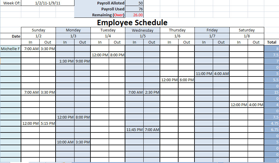 8 Images of Printable Blank Work Schedule