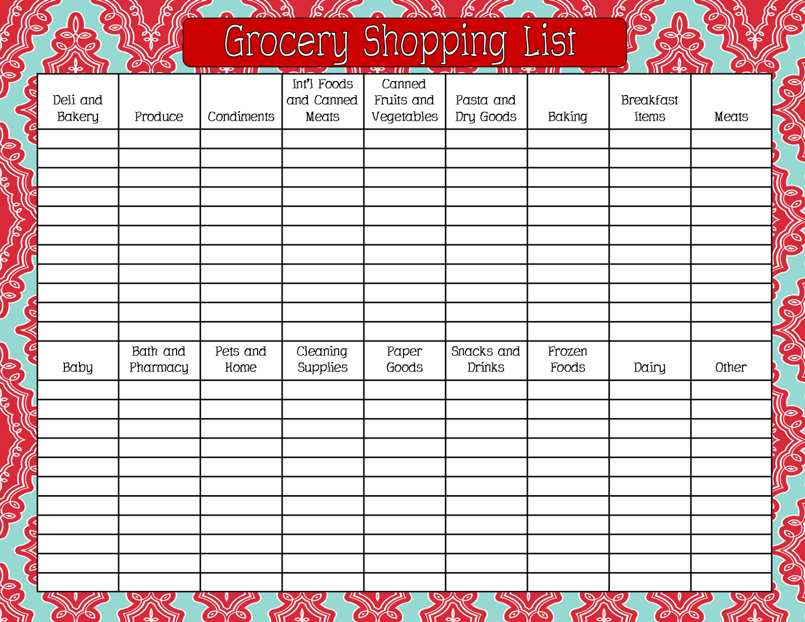 blank grocery list templates – Free Printable Grocery List Template