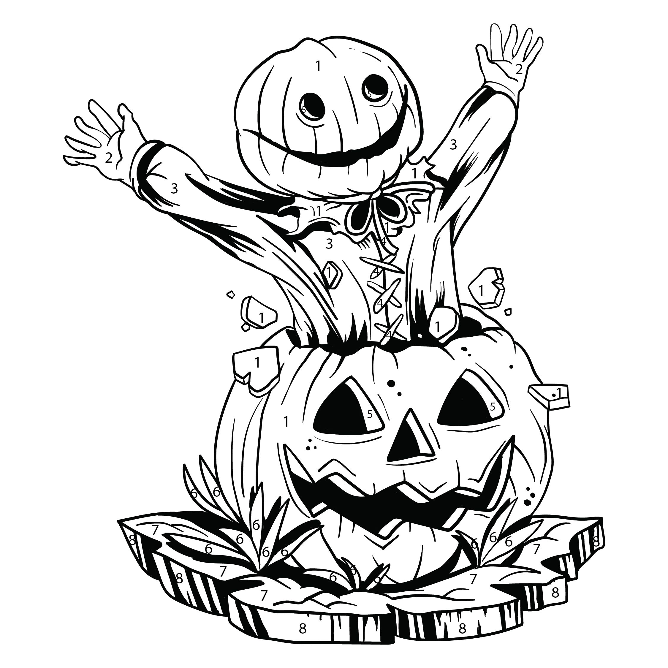 Printable Halloween Color by Number Coloring Pages