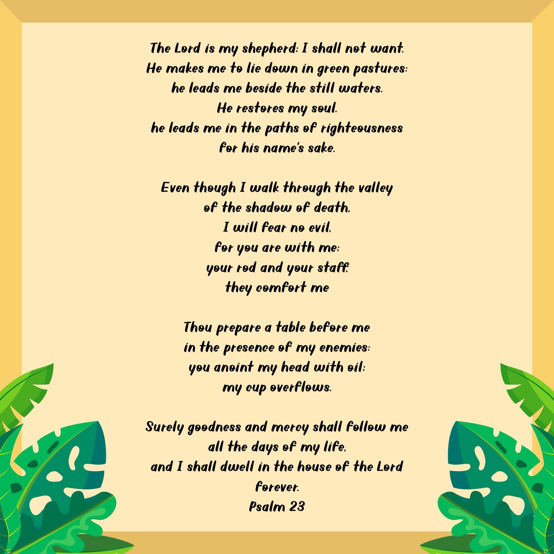 Printable Lord Is My Shepherd Psalm 23